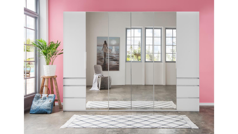 Kleiderschrank EVERLY Falttüren weiß mit Spiegel 300 cm