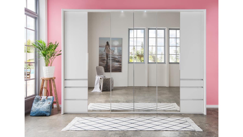 kleiderschrank everly faltt ren wei mit spiegel 300 cm. Black Bedroom Furniture Sets. Home Design Ideas