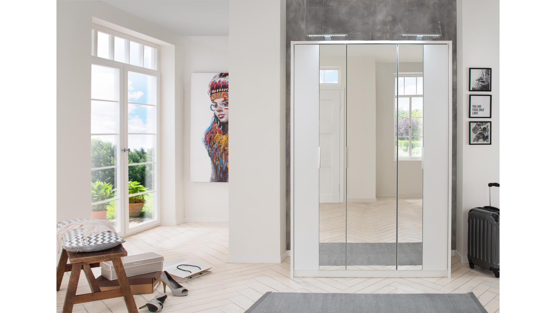 Kleiderschrank BERLIN Falttüren weiß mit Spiegel 139 cm