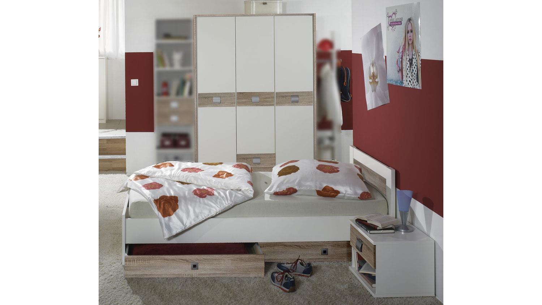 Jugendzimmer Jalta 3 Tlg Kinderzimmer Weiss Eiche Sagerau