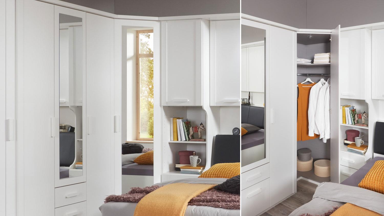 Schlafzimmer Mainau 5 Tlg Weiss Spiegel Bettbrucke 180x200