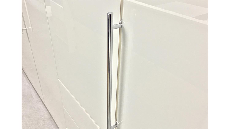 Kleiderschrank loft schrank in wei und wei glas 300 cm for Kleiderschrank griffe