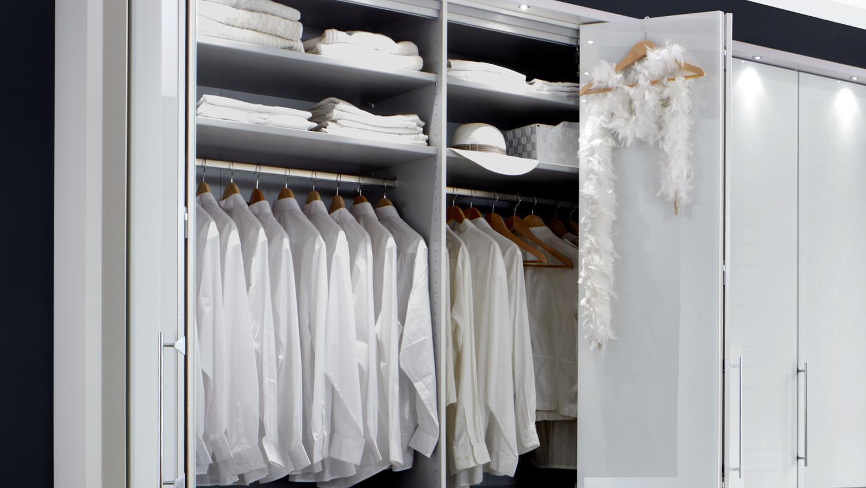 Kleiderschrank Loft Schrank In Weiss Mit Glastur 300 Cm