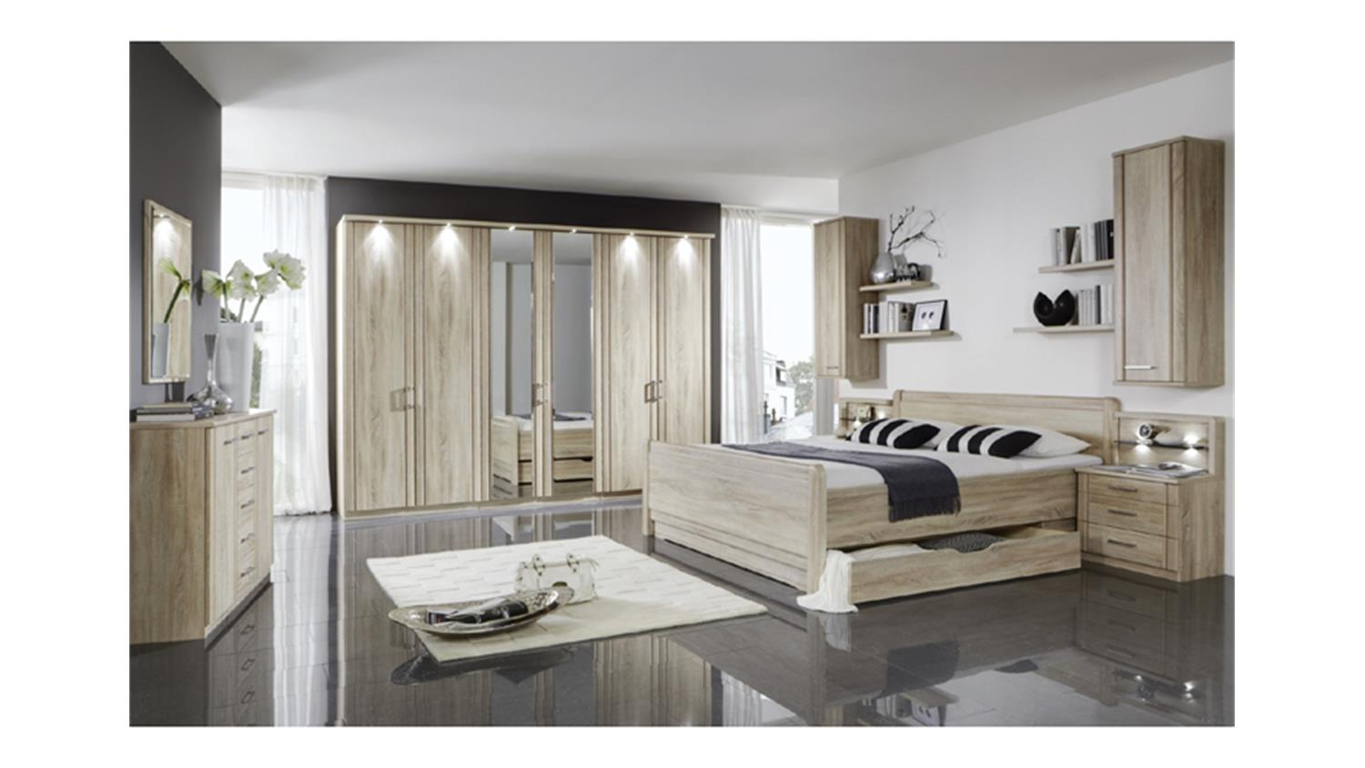 schlafzimmerset valencia bett schrank nako eiche s gerau. Black Bedroom Furniture Sets. Home Design Ideas