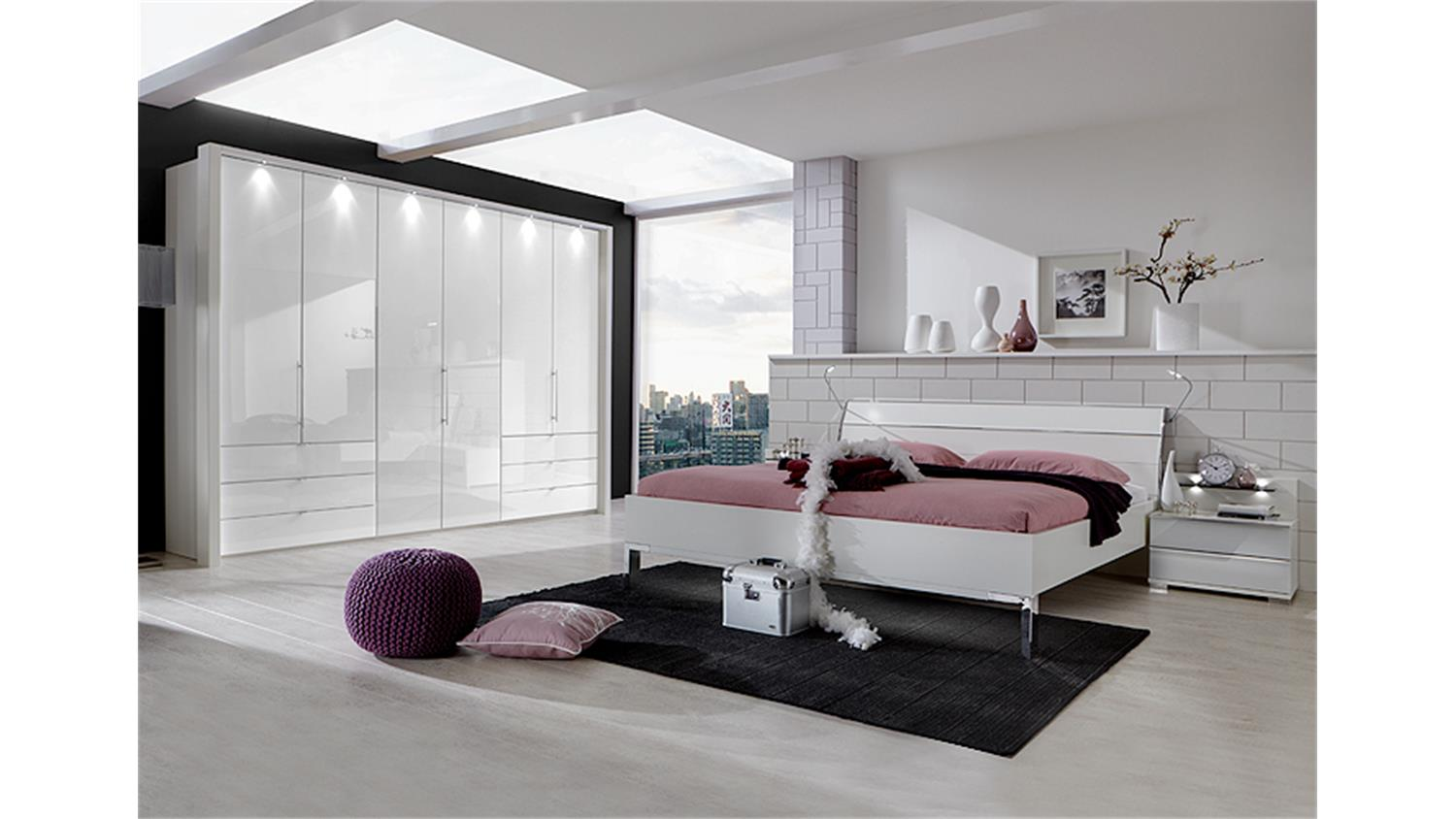 schlafzimmerset loft schrank bett nako wei und wei glas. Black Bedroom Furniture Sets. Home Design Ideas