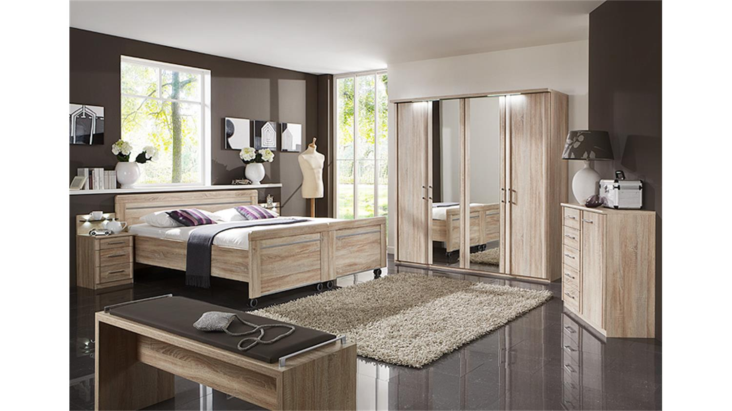 schlafzimmerset 5 meran schrank bett nako eiche s gerau. Black Bedroom Furniture Sets. Home Design Ideas