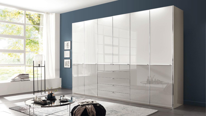 Kleiderschrank Shanghai Schrank Weiss Grau Glas 300x236