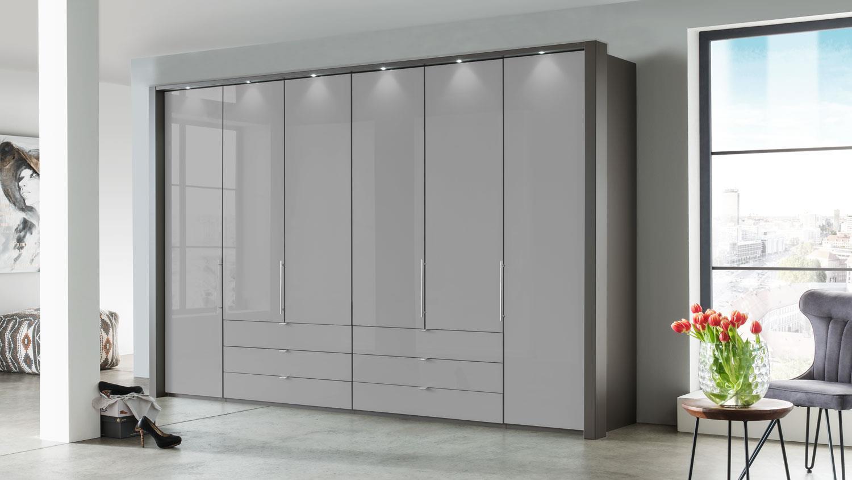 Kleiderschrank Loft Schrank Grau Glas Gleittur 300 Cm