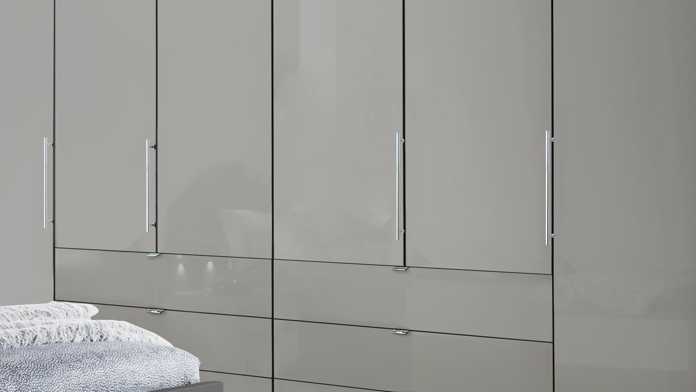Schlafzimmer LOFT Schrank Bett Nachtkommode mit grau Glas