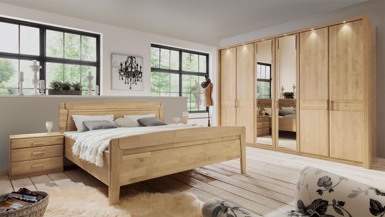 Schlafzimmer Set Lausanne Bett Schrank Birke Teilmassiv