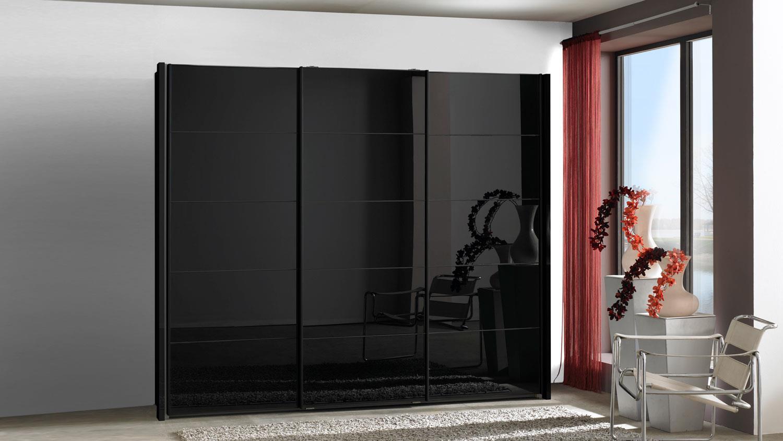 Schwebeturenschrank Westside Schrank Schwarz Glas 250 Cm