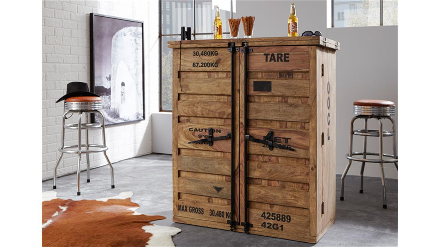 bar 6909 container von wolf m bel massivholz sheesham natur. Black Bedroom Furniture Sets. Home Design Ideas