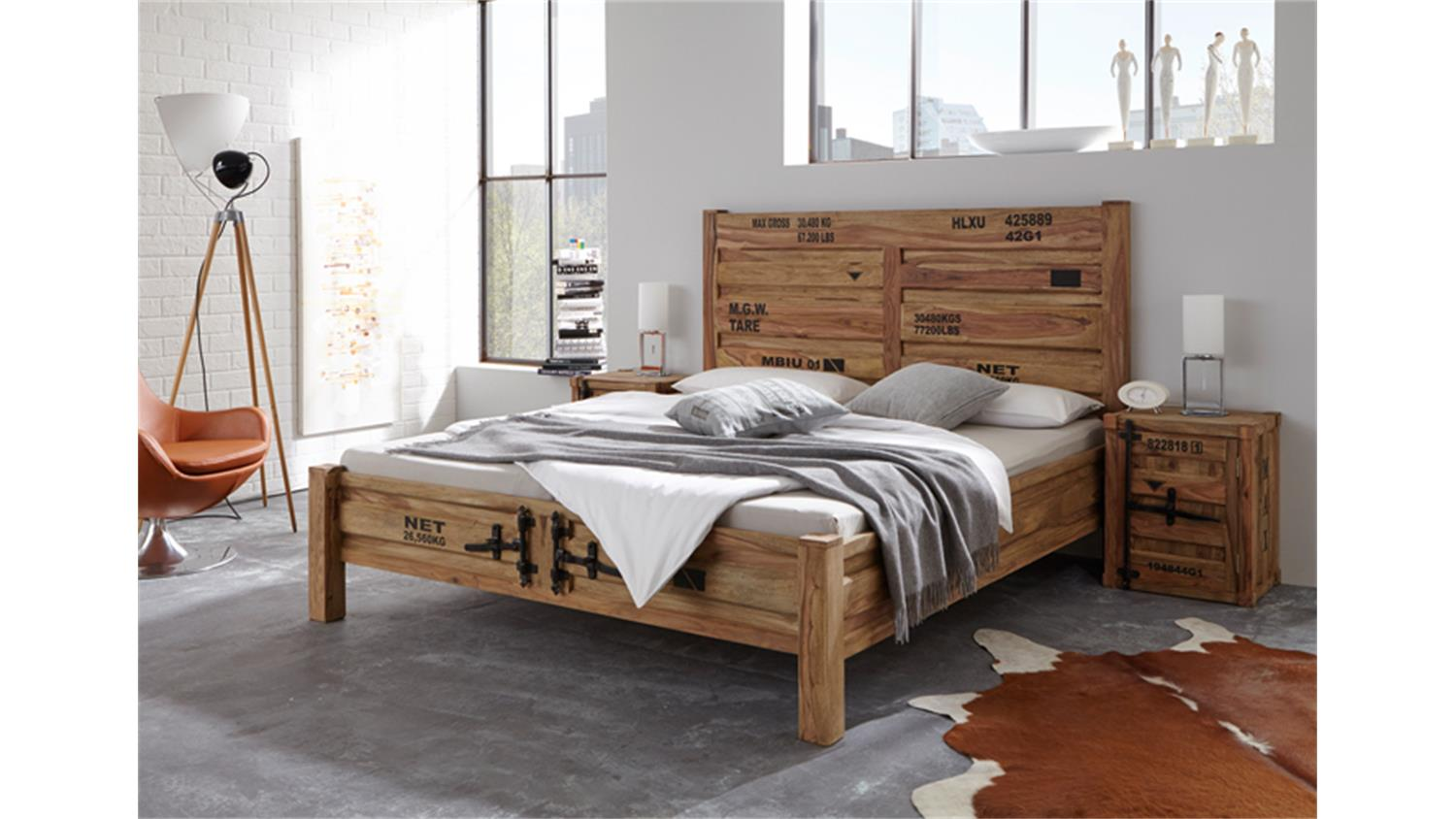 bett container 180x200 sheesham massiv von wolf m bel. Black Bedroom Furniture Sets. Home Design Ideas