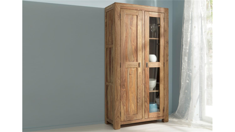 vitrine yoga 6597 v sheesham natur massiv wolf m bel. Black Bedroom Furniture Sets. Home Design Ideas
