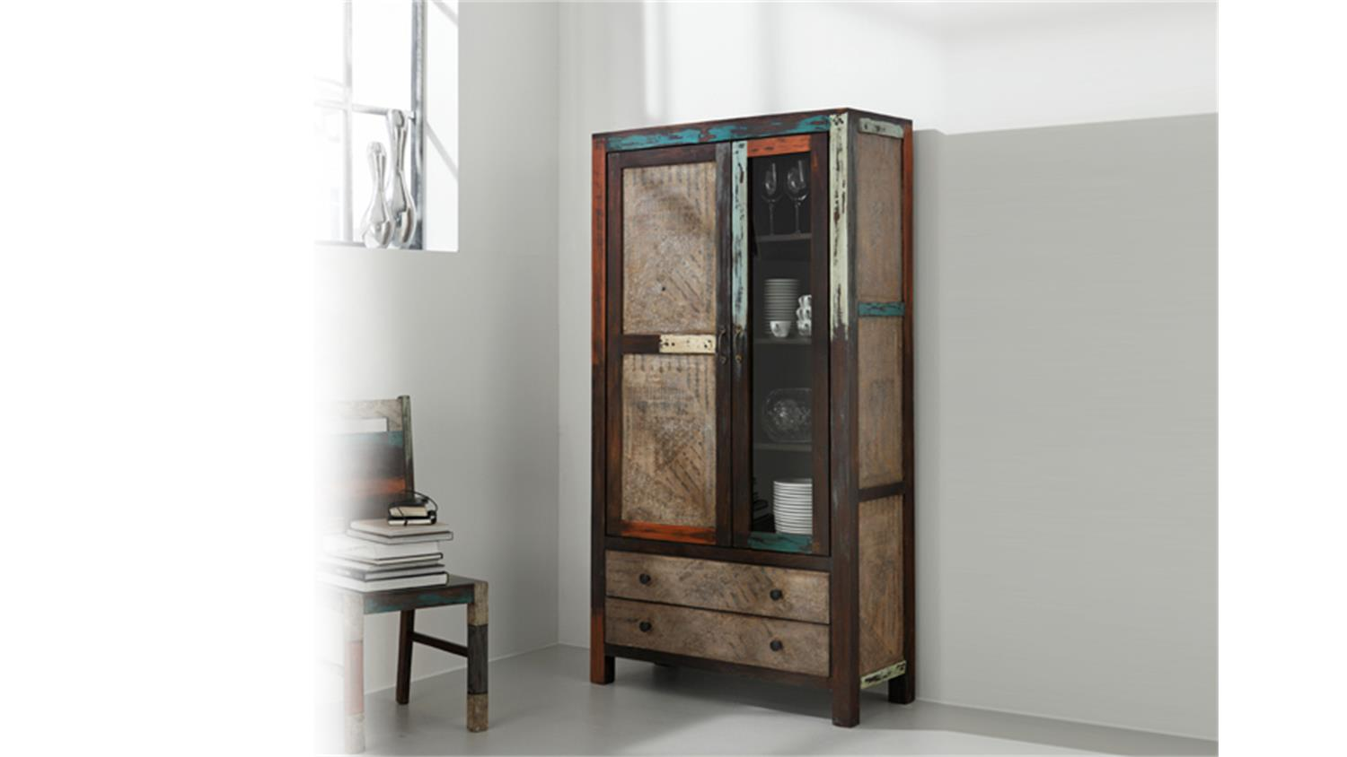 vitrine goa 3511 von wolf m bel in massivholz mango. Black Bedroom Furniture Sets. Home Design Ideas