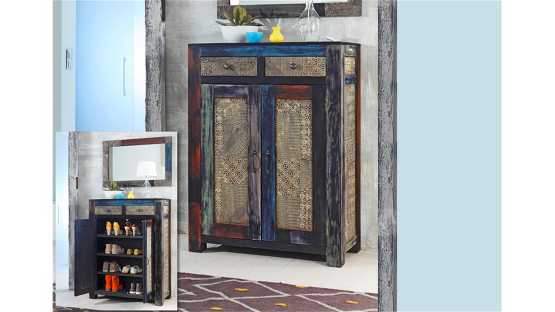 schuhschrank goa mango massiv vintage design. Black Bedroom Furniture Sets. Home Design Ideas