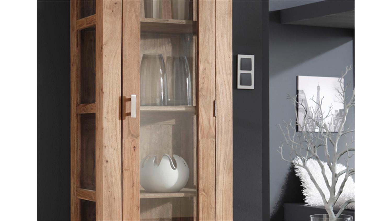 glasvitrine guru 6612 1 t rig akazie massiv von wolf m bel. Black Bedroom Furniture Sets. Home Design Ideas