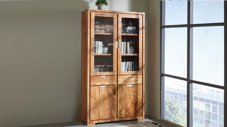 vitrine vision 2840 aus massivholz akazie in acana. Black Bedroom Furniture Sets. Home Design Ideas