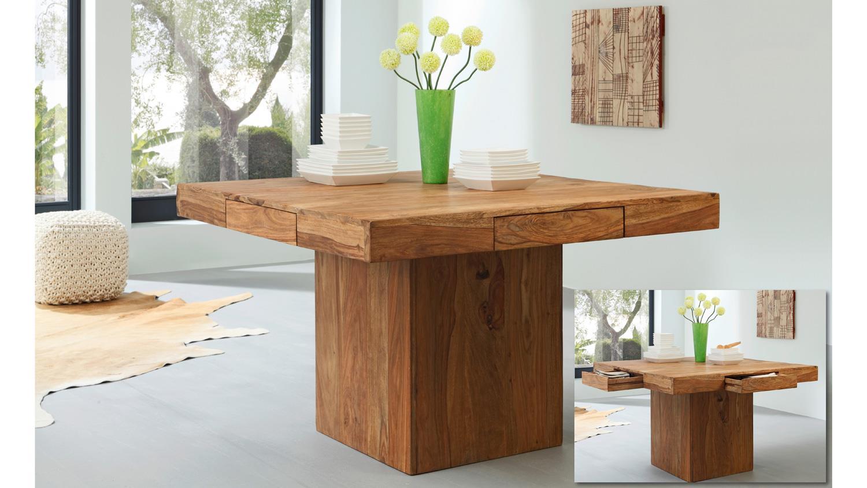 esstisch yoga 6408 tisch sheesham massivholz natur 120x120. Black Bedroom Furniture Sets. Home Design Ideas