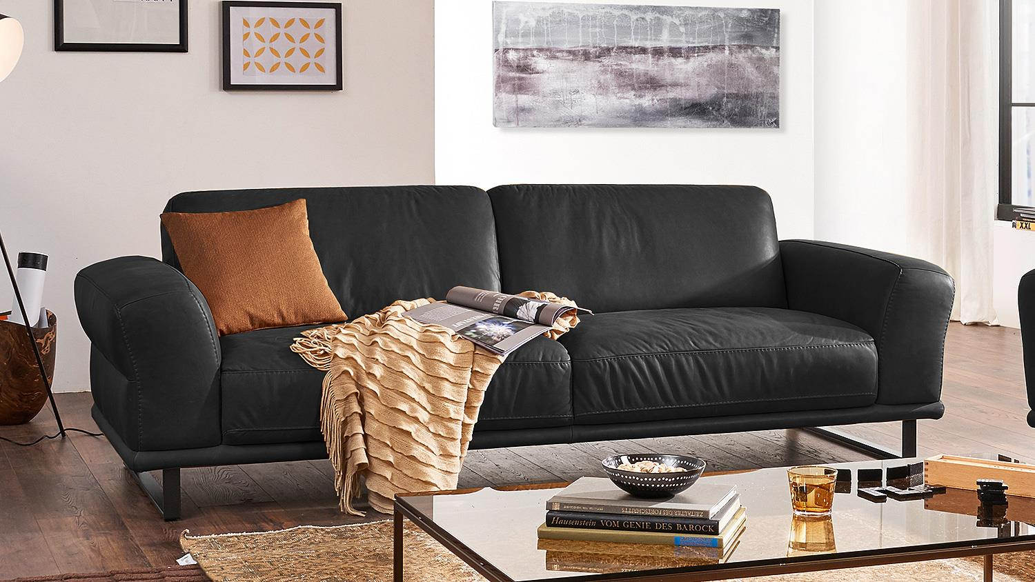 Garnitur montanaa 2er sofa in leder schwarz willi schillig for Sofa garnitur