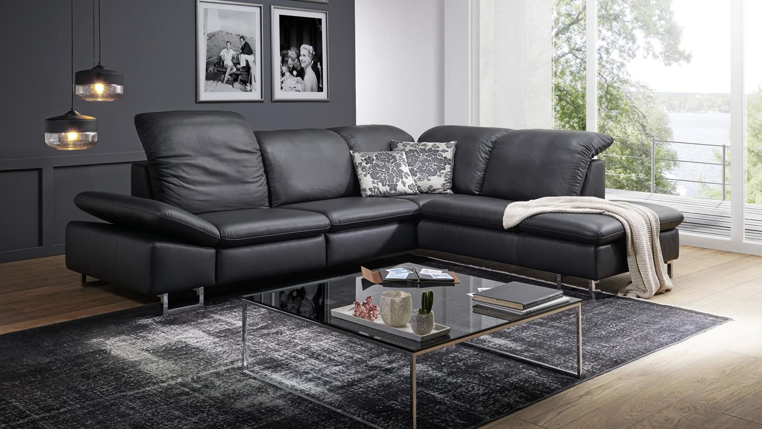 ecksofa enjoy relax bezug leder schwarz f e metall mit. Black Bedroom Furniture Sets. Home Design Ideas