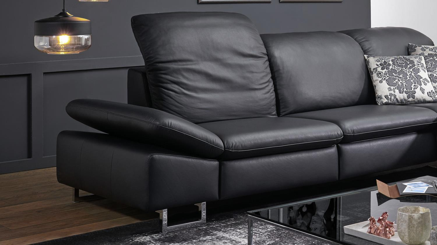 ecksofa enjoy relax bezug leder schwarz f e metall mit nosagfederung. Black Bedroom Furniture Sets. Home Design Ideas