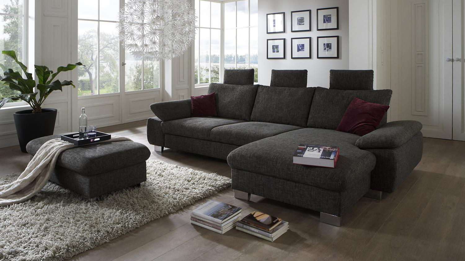 ecksofa bliss in stoff braun grau mit sitztiefenverstellung 318x184 cm. Black Bedroom Furniture Sets. Home Design Ideas