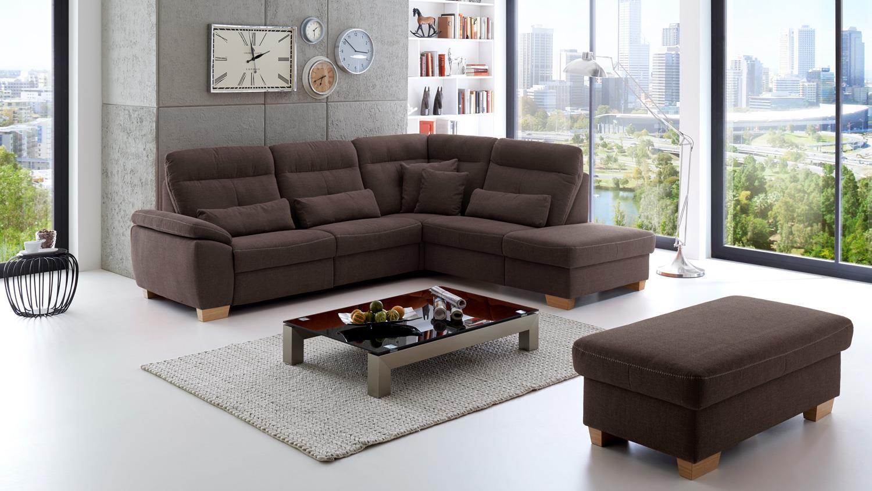 ecksofa zima bezug in stoff braun inkl kopfteilverstellung 260x237 cm. Black Bedroom Furniture Sets. Home Design Ideas