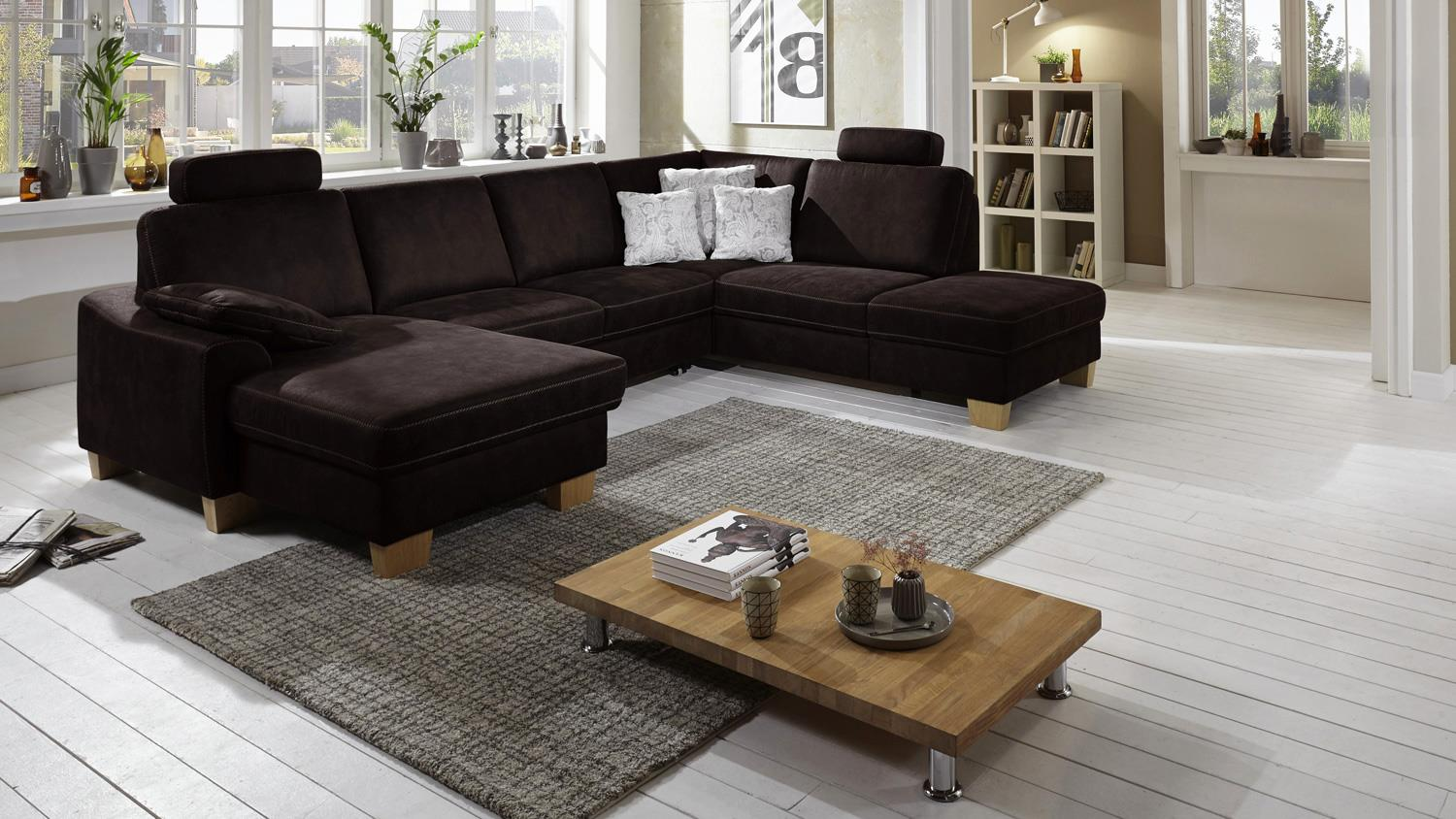wohnlandschaft stick microfaser espresso braun mit federkern 313x235. Black Bedroom Furniture Sets. Home Design Ideas