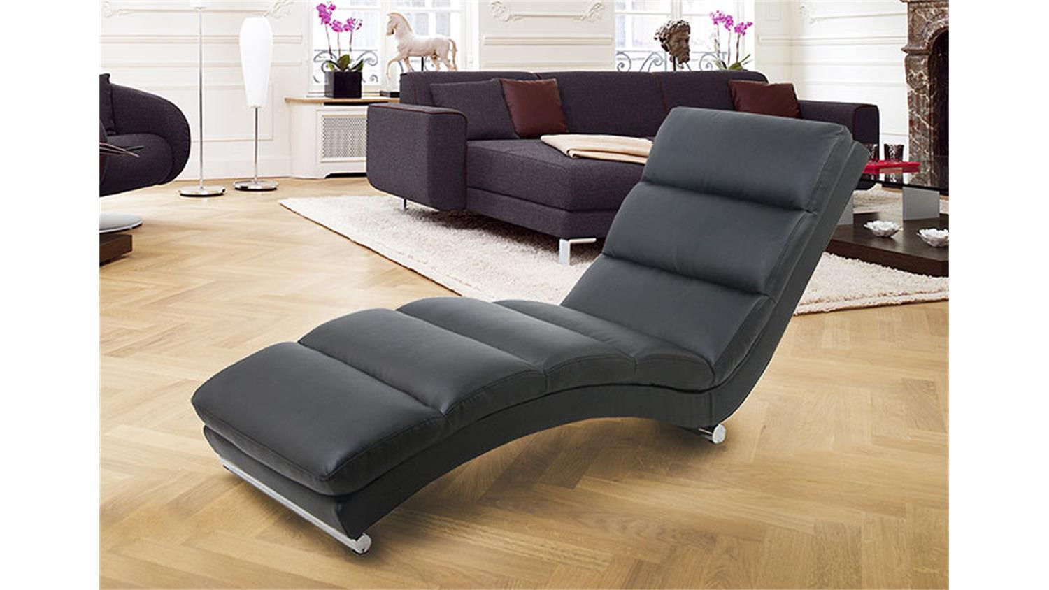 relaxliege fox chaiselongue liege in schwarz und chrom. Black Bedroom Furniture Sets. Home Design Ideas
