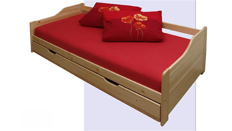 Bett marie funktionsbett in kiefer massiv mit bettkasten for Bett kiefer massiv