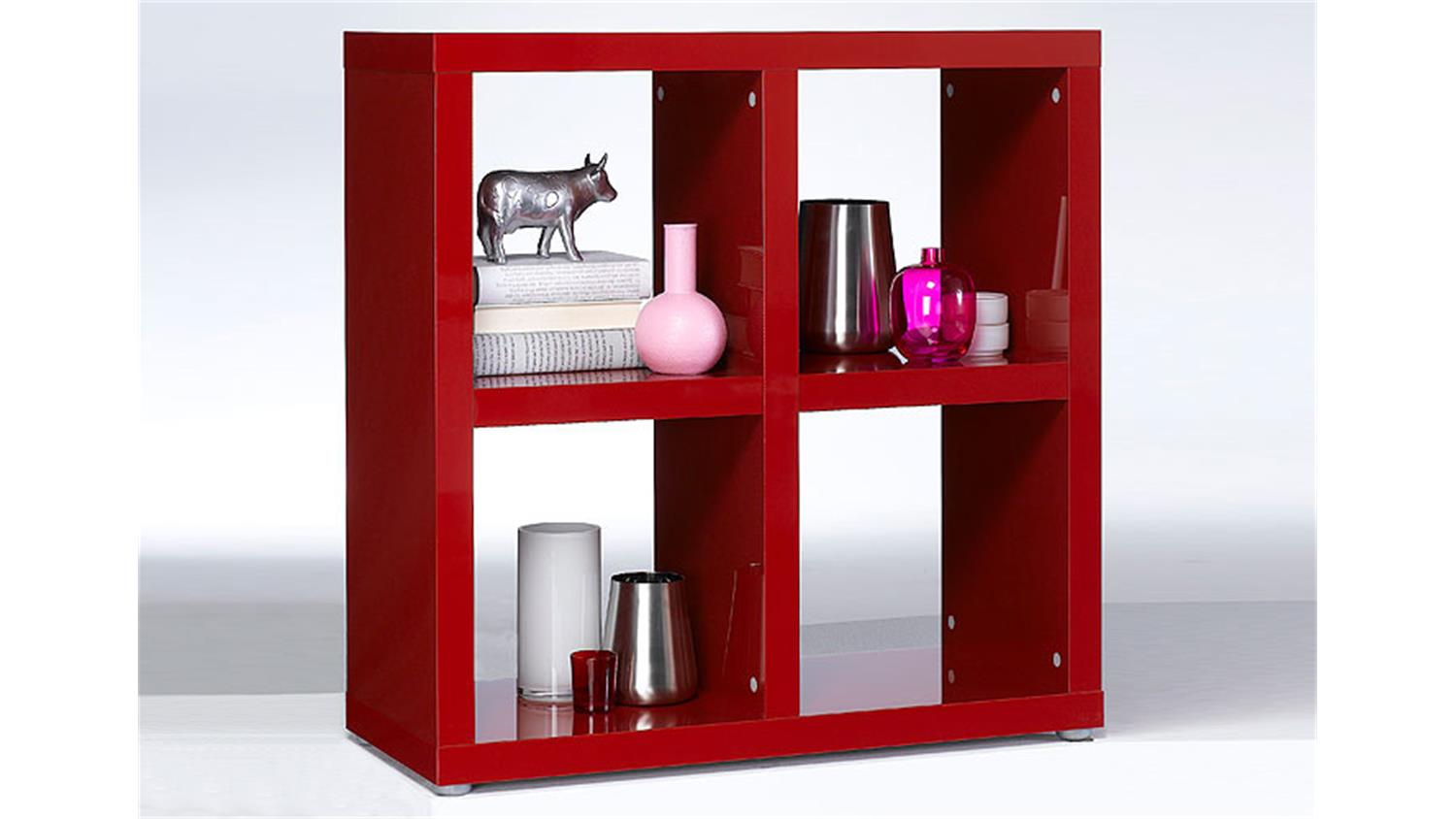 regal tonic b cherregal in rot hochglanz lackiert 4 f cher. Black Bedroom Furniture Sets. Home Design Ideas