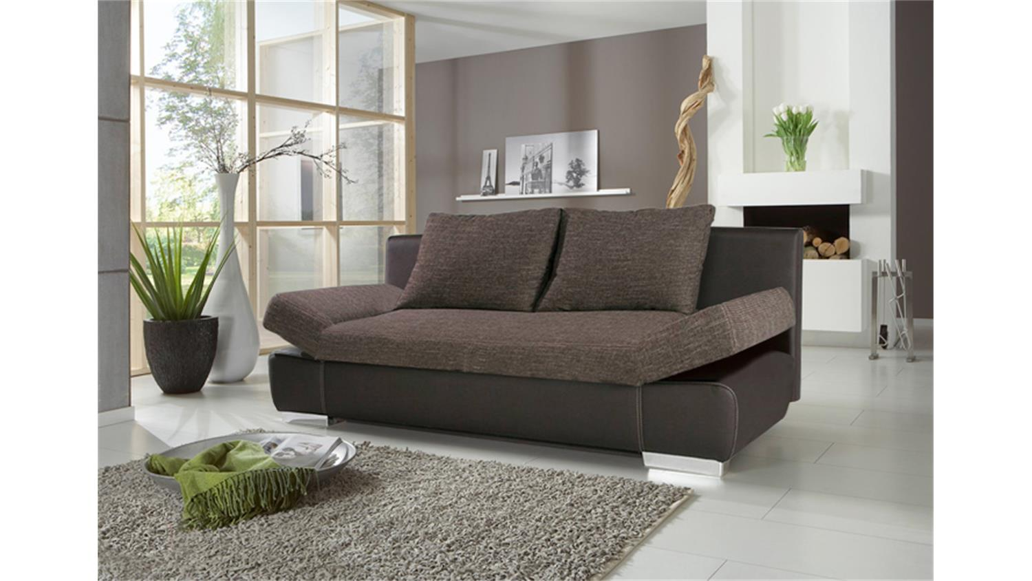 schlafsofa joker sofa braun mit bettkasten und chromf en. Black Bedroom Furniture Sets. Home Design Ideas