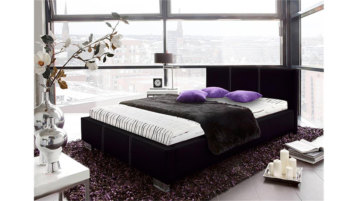 polsterbett landro in schwarz mit rollrost und matratze. Black Bedroom Furniture Sets. Home Design Ideas