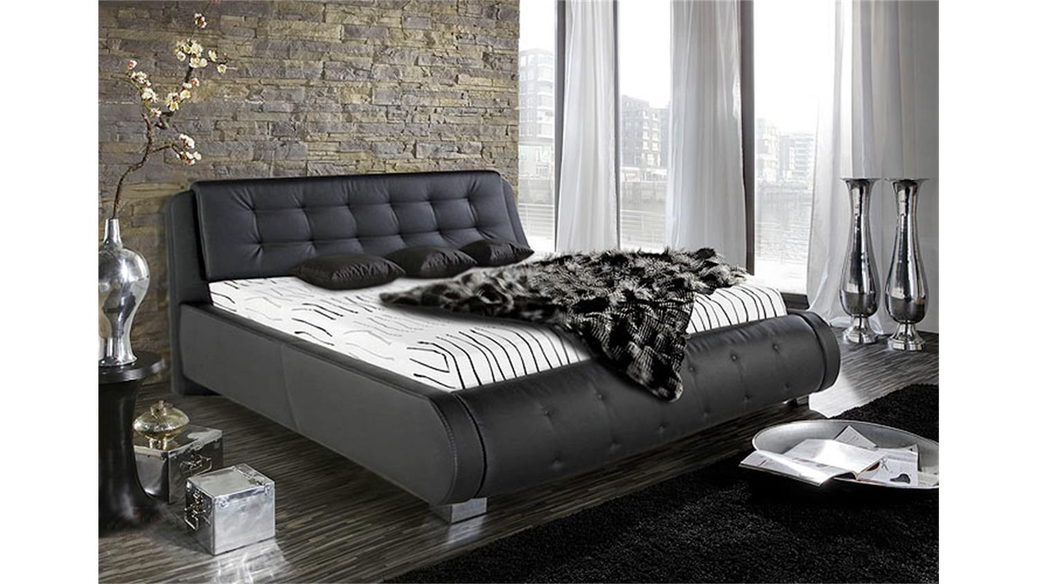 polsterbett nelio schlafzimmer bett in schwarz 180x200 cm. Black Bedroom Furniture Sets. Home Design Ideas