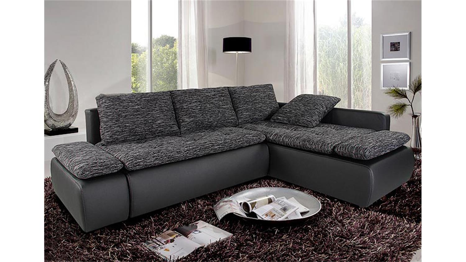 ecksofa sunshine schwarz anthrazit mit bettfunktion. Black Bedroom Furniture Sets. Home Design Ideas