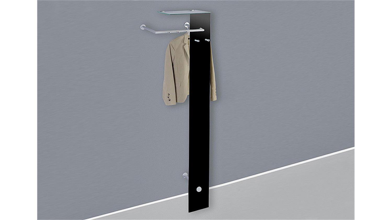 Garderobe elio wandgarderobe anrichte in schwarz glas for Wandgarderobe schmal
