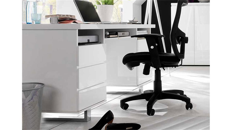 schreibtisch sydney i wei hochglanzlack. Black Bedroom Furniture Sets. Home Design Ideas