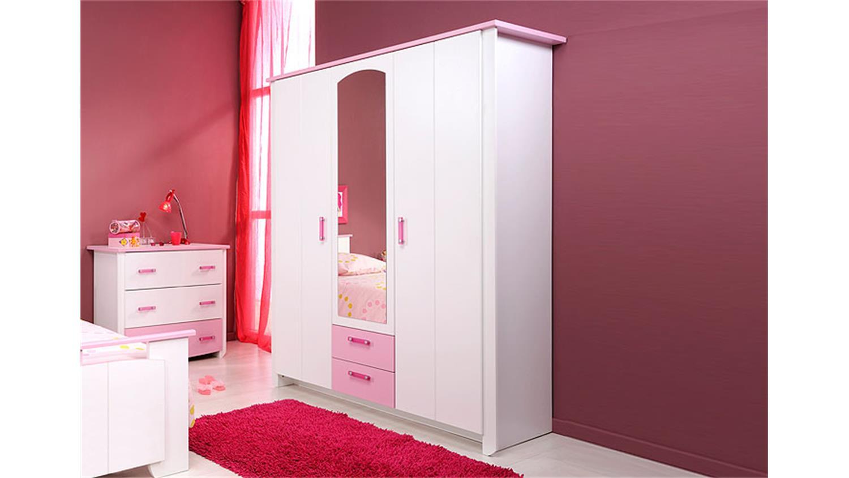 kleiderschrank i beauty schrank in wei rosa mit spiegel. Black Bedroom Furniture Sets. Home Design Ideas