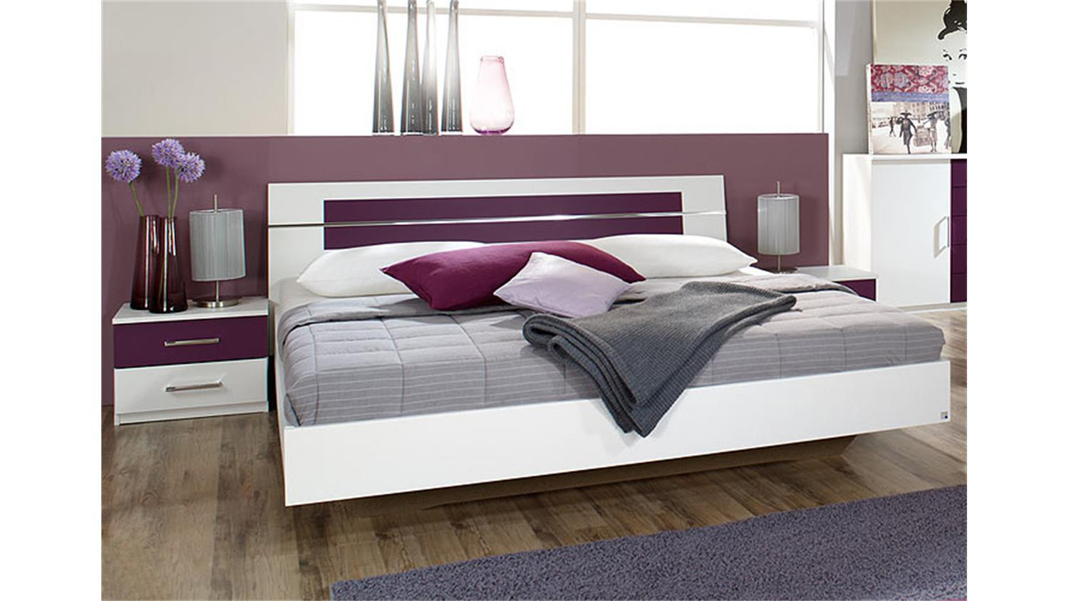 bettanlage burano in wei und brombeer bett 180x200 2 nakos. Black Bedroom Furniture Sets. Home Design Ideas