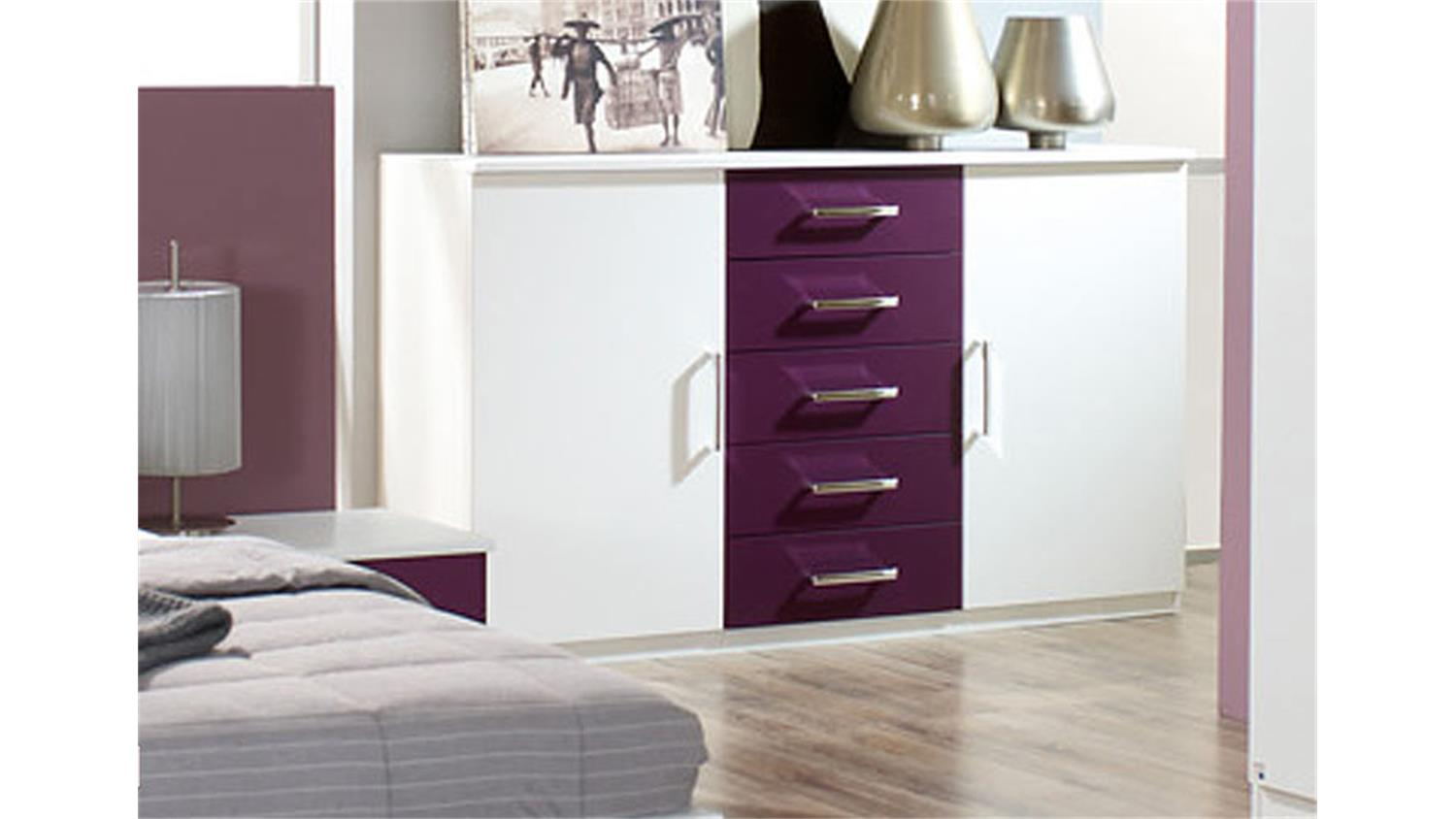 kommode burano sideboard in wei absetzungen in brombeer. Black Bedroom Furniture Sets. Home Design Ideas