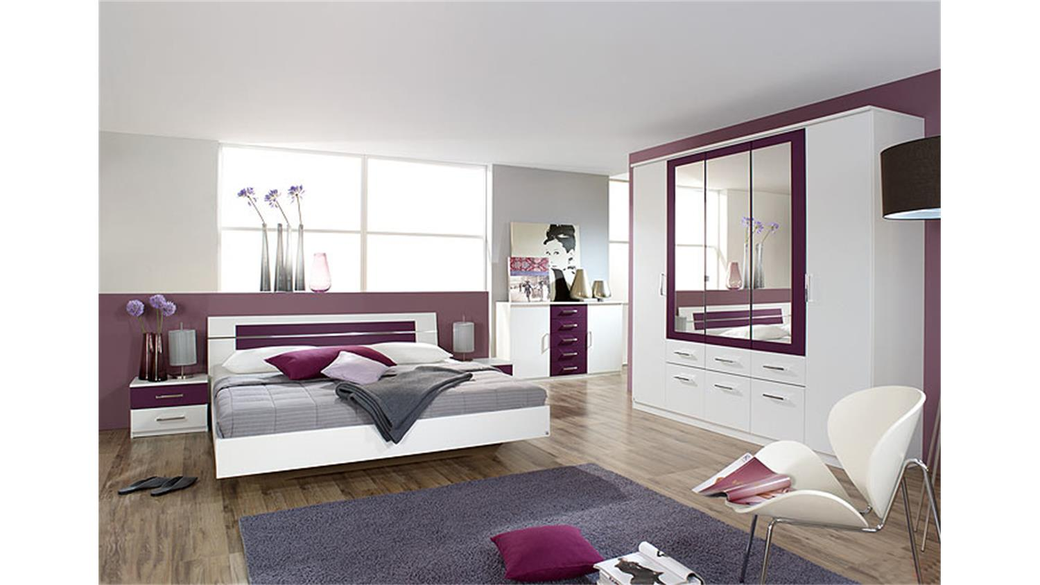 schlafzimmer set burano in wei und brombeer 4 teilig. Black Bedroom Furniture Sets. Home Design Ideas