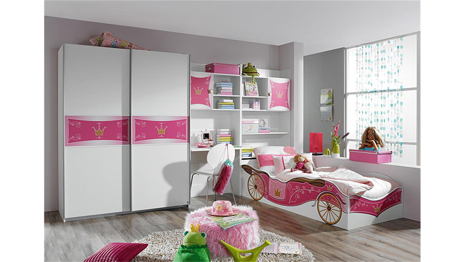 kinderbett kate autobett bett in wei und rosa dekor. Black Bedroom Furniture Sets. Home Design Ideas