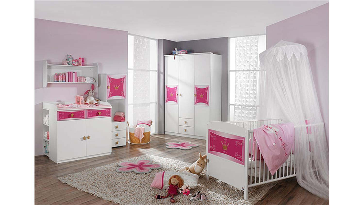 babyzimmer kate kinderzimmer in wei und rosa 3 teilig. Black Bedroom Furniture Sets. Home Design Ideas