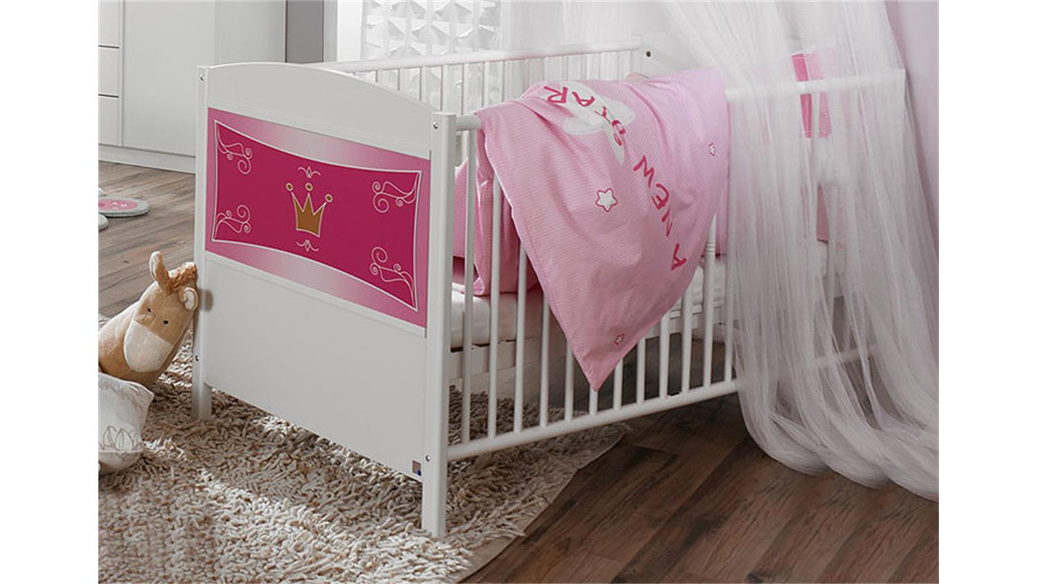 babybett kate sprossenbett bett wei rosa inkl lattenrost. Black Bedroom Furniture Sets. Home Design Ideas