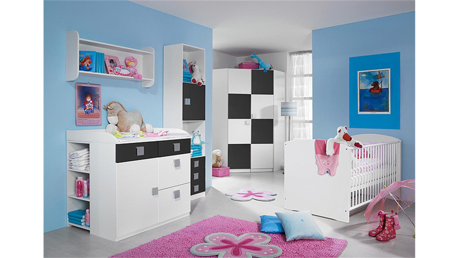babyzimmer skate kinderzimmer mit eckschrank in wei grau. Black Bedroom Furniture Sets. Home Design Ideas