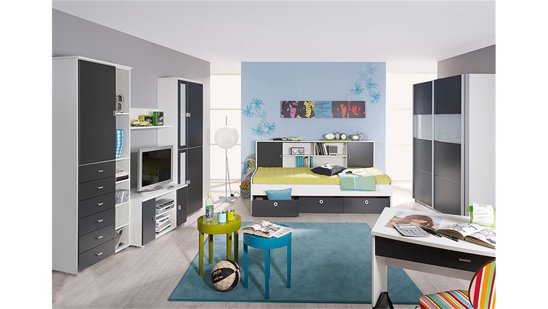 jugendzimmer set chica alpinwei und grau metallic 2 teilig. Black Bedroom Furniture Sets. Home Design Ideas