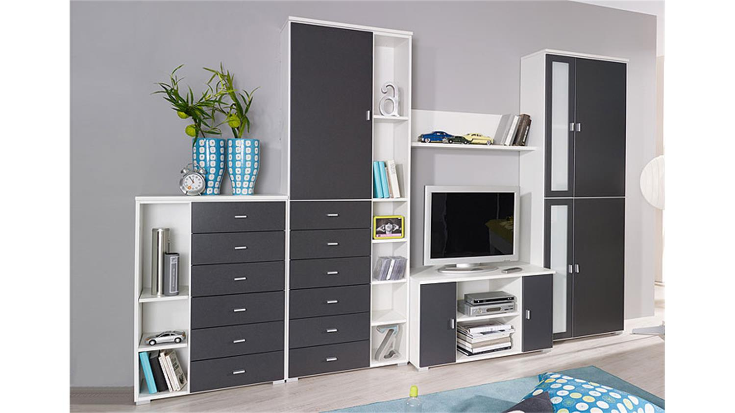 wohnwand chica in alpinwei und grau metallic 5 teilig. Black Bedroom Furniture Sets. Home Design Ideas