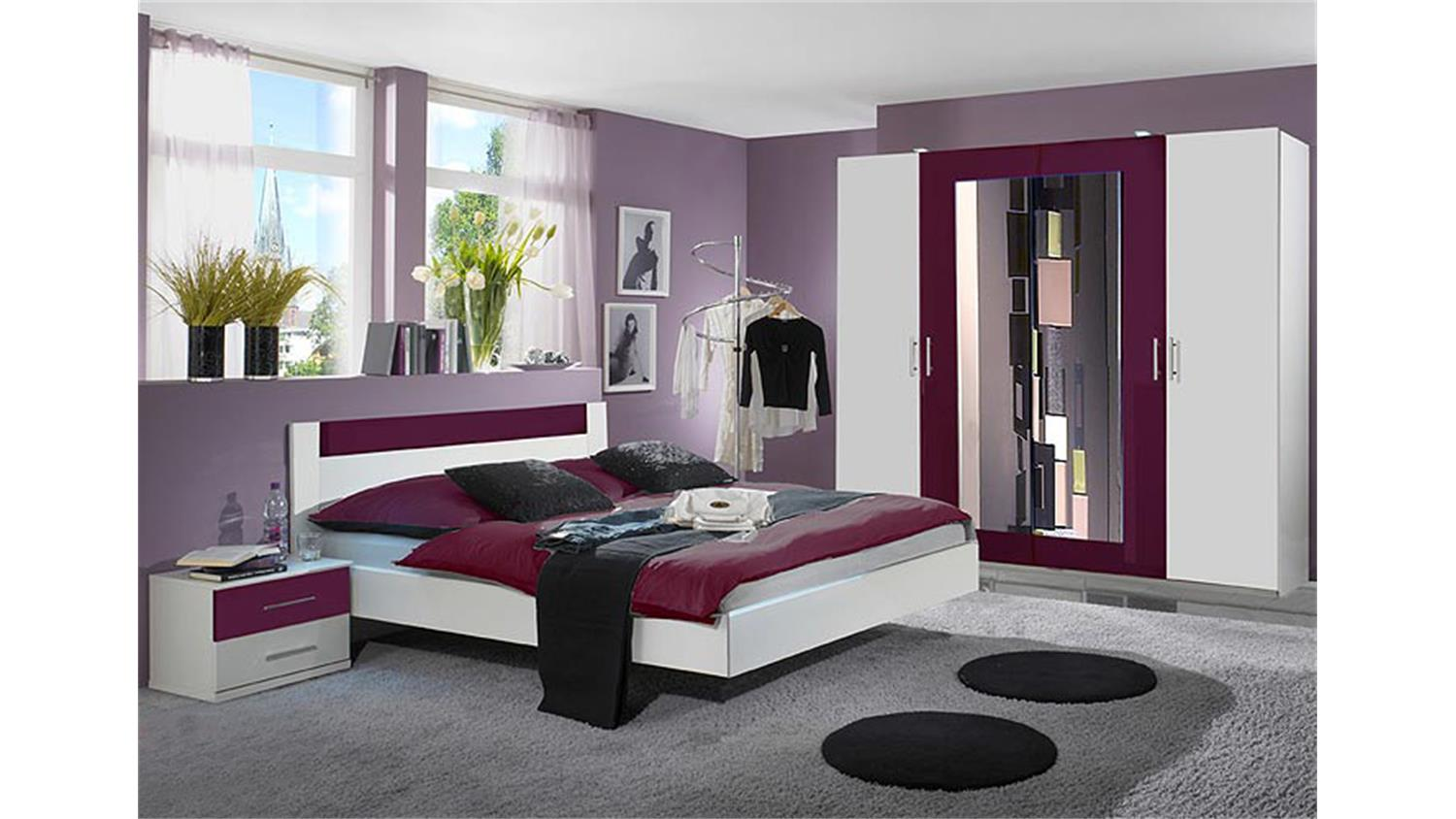 napoli schlafzimmer set vii in wei und brombeer. Black Bedroom Furniture Sets. Home Design Ideas