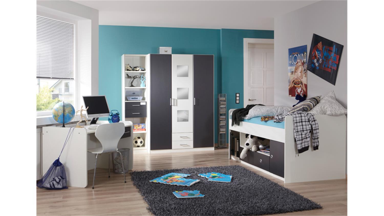 jugendzimmer rocko kinderzimmer in wei und anthrazit 3 tlg. Black Bedroom Furniture Sets. Home Design Ideas